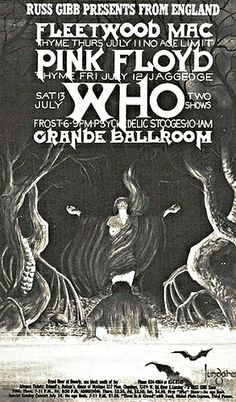 This concert postcard is from 7-11/2/3-68. at the grande ballroom..The bands performing were, JULY 11/THURSDAY..1968. --Fleetwood Mac. --Th...