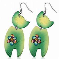 Fashion Fimo Polymer Clay Flower Surprised Cat Long Drop Hook Earrings pair