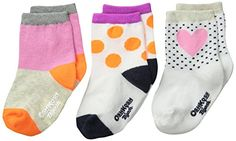 OshKosh BGosh Baby BabyGirls Newborn 3 Pack Heart Socks MultiColor 1224 Months >>> Be sure to check out this awesome product.
