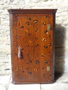 Rare Oak Inlaid Corner Cupboard - Mid 18thc. - Antiques Atlas