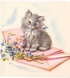 vintage kitten note card