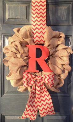 Monogram Spring Burlap Wreath, Year Round Wreath, Red Chevron Bow and Hanger with Custom Wood Initial