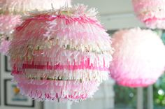 pom poms in pretty pinks and gold.
