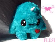 Big Fluse Kawaii Plush Unicorn cute monster turquoise by Fluse123