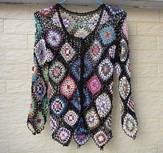 crochet womens blouse top granny square by Tinacrochetstudio