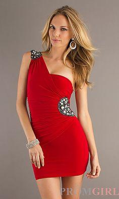Short One Shoulder Cocktail Dress at PromGirl.com