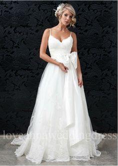 Spaghetti straps v-neck lace applique tulle wedding dress on Etsy, $308.00
