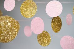 Garland Glitter Paper Garland Gold and Pink by TheLittleThingsEV