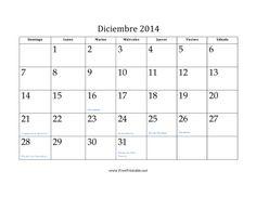 Calendario de Diciembre de 2014 imprimir gratis