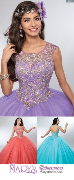 Style 4697: Tulle quinceanera ball gown with cap sleeves, scoop neck line, embroidery and beads, basque waist line, and back with keyhole and lace-up closure. From Mary's Quinceanera Fall 2016 Beloving Collection
