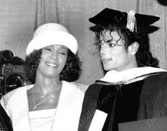 Whitney Houston with Michael Jackson in 1988, as Jackson received an honorary doctor of humanities degree from Fisk University. Photo by Richard Corkery, New York Daily News.