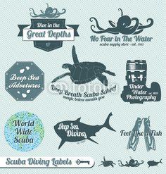 Vector Set: Retro Scuba Diving Labels and Badges