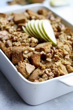 Bake this delicious french toast casserole spiced with cinnamon and cardamom for your family this fall! Breakfast casseroles are a super quick and easy recipe idea for brunch, holidays, and weekends. Dig into this french toast casserole stuffed full of walnuts, pears, and whole wheat bread! For those wondering how to make french toast casserole, we walk you through how to make this easy but not overnight recipe. Pears and cardamom make a perfect pairing and are a unique alternative to apples! Autumn Recipes Vegetarian, Fall Dinner Recipes, Fall Recipes, Pear Recipes Breakfast, Easy Desserts, Dessert Recipes, Baked French Toast Casserole, Baked Pears, Make French Toast