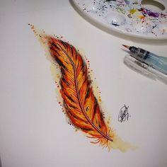Pena de fênix! Disponível para tatuar... #pena #fenix #phenix #penadefenix…