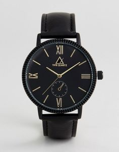 ASOS Watch With Black Faux Leather Strap And Gold Highlights - Black