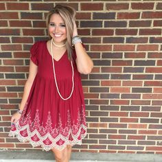 This crimson/taupe embroidery dress is gorgeous! ❤️ Perfect to wear now AND during football season! Come shop with us until 6pm!