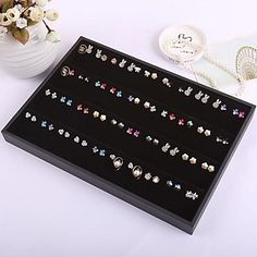 80 Holes Earrings Tray Women's Jewelry Display Jewelry Storage Boxes – USD $ 22.99
