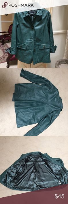 Vintage 100% leather coat w/ shoulder pads Color is beautiful Forrest green with gold and green buttons. New condition, never been worn. no stains or holes. centigrade outerwear Jackets & Coats