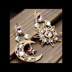 """""""Papa Picasso"""" Moon and star earrings 18 karat gold real Austrian crystals dangle hypo allergenic gorgeous sparkling earrings brand-new never worn . You will get compliments all day long and all night smoke-free pet free home BNWOT Stella McCartney Jewelry Earrings"""