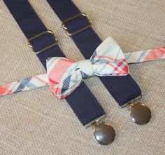 Navy Blue Cream Red and Coral Plaid Bow Tie and Navy Blue Suspenders set Wedding ( Men, boys, baby, toddler, infant Suspender and Bowtie ) on Etsy, $42.71