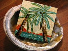 Palm View OOAK Original tiny painting tropical by seasearider, $18.00