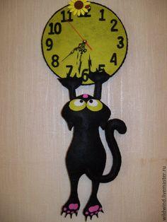 Cat Crafts, Wood Crafts, Diy And Crafts, Arts And Crafts, Cat Clock, Clock Art, Vynil, Wall Watch, Cool Clocks