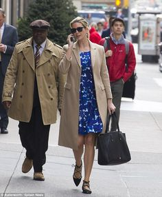Head-to-toe: Her blue floral dress is also a piece from her Ivanka Trump Collection, and retails for $138
