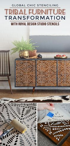 This gorgeous upcycle transformation features a wood cabinet that has repurposed and stenciled doors. See more of the furniture makeover using tribal stencils. Diy Furniture Decor, Repurposed Furniture, Furniture Makeover, Vintage Furniture, Cool Furniture, Painted Furniture, Furniture Stencil, Furniture Design, Barbie Furniture