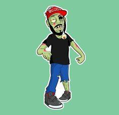 Zombie Skateboard Boy Vinyl Sticker Decal by AlienAndEarthling