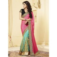 Multicolor Pink and Turquoise Saree