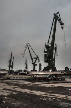 'Steel' Is it just another industrial zone…? It's a place of completely other magnitude. Gdańsk Shipyard, place where whole communism started to crumble. Where bloody strikes broke out. Industrial, Danzig, Skull Art, Urban Art, Crane, Poland, Photo Art, Construction, Steel