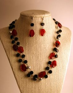SALE Necklace and Earring Set  Red and Black by WiredEssentials, $25.00