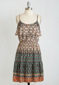 Fate-Ashbury Dress. Serendipitous forces led you to the iconic San Franciscan crossing, and you celebrate its pivotal history in this printed popover sundress! #multi #modcloth