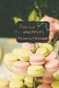 French macarons are the perfect finger food for a Paris-inspired wedding. The colors should also follow  the palette you chose.