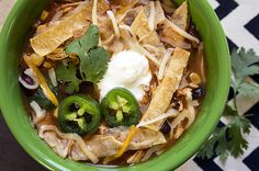 Recipe: Tortilla Chicken Soup - sub baked tortilla chips for the strips