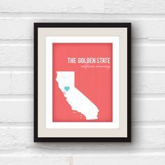 California Art - California Map - Los Angeles California  - State Art - Custom Home decor - 8x10 print. $20.00, via Etsy.... LOVE this <3 over LA and Mist color background.
