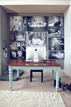love this idea. large pics of the family covering one wall