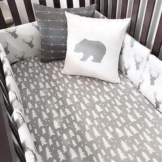 Crib Sheet Gray and White Tree Print by SleepingLakeDesigns
