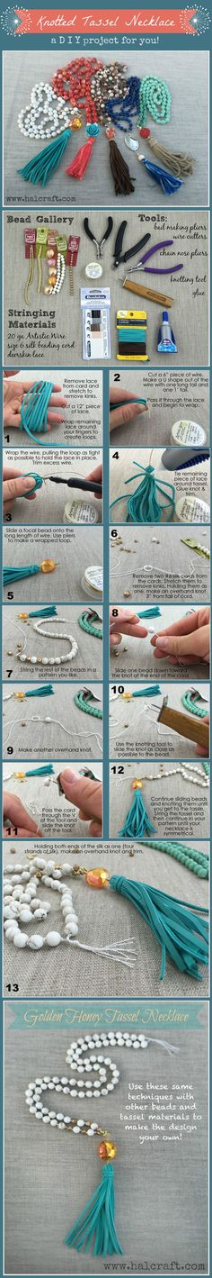 Learn to make your own custom tassels and knotted necklaces with a #DIY #MondayMake using #BeadGallery beads, tools and findings available at Michaels Stores @Beadalon