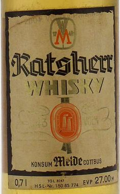 Old German Whiskey | German whisky - Clear glass - Tall bottle with criss crosses ridge on ...