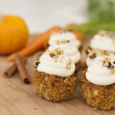 """A healthful fall-flavored twist on the classic carrot cake, this recipe for Pumpkin Carrot Cake Cupcakes with cream """"cheese"""" frosting is grain-free, gluten-free, dairy-free and refined sugar-free.data-pin-do= Pumpkin Carrot Cake Recipe, Gluten Free Pumpkin Cookies, Carrot Cake Cupcakes, Pumpkin Recipes, Holiday Recipes, Recipes Dinner, Fall Recipes, Pumpkin Dishes, Homemade Sweets"""
