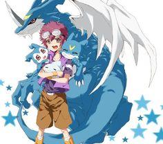 Digimon Adventure 02: Davis (Daisuke) Motomiya with Veemon (V-mon) Evolutions - Chibomon (Chicomon), DemiVeemon (Chibimon), Veemon (V-mon) and ExVeemon (XV-mon)