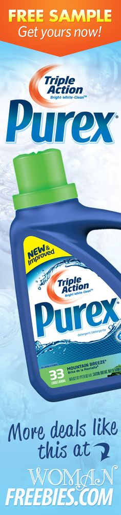 Have you ever tried Purex Laundry Detergent? Here's your chance! Right now you can receive a FREE sample of Purex Triple Action. It's proven to leave your clothes white, bright, and clean, but don't take my word for it. Prove it to yourself!     All you have to do is watch a short 15 second video and then a button will appear which allows you to sign up!    They will send out your sample within 6 to 12 weeks. Enjoy!