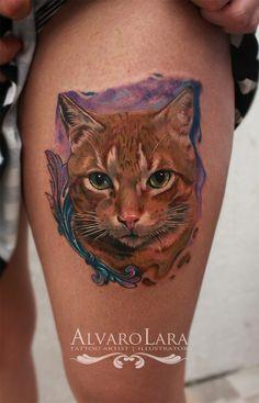 Tattoo By Alvaro Lara  Realistic cat tattoo