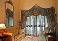 New catalogue of classic luxury curtains and luxury drapes 2018 with the best classic curtains designs and drapery designs 2018 for all rooms living room, kitchen, dining room, bedroom and bathroom curtain designs 2018 for luxury interior design Fancy Curtains, Classic Curtains, Luxury Curtains, Drapes Curtains, Valance, Living Room Photos, Living Room Windows, Formal Living Rooms, Living Room Modern