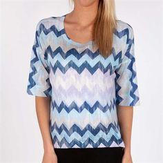 Nally & Millie Boxy Zig-Zag Top #VonMaur #NallyAndMillie #Blue #ZigZag #Multicolored #ThreeQuarterSleeves