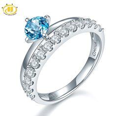 Hutang Genuine Blue Topaz & Zircon Promise Ring Solid 925 Sterling Silver Gemstone Fine Jewelry Wedding Women Best Gift