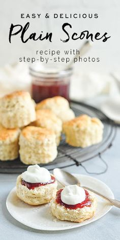 Easy Plain Scones, perfect served with jam and cream An easy scone recipe with step-by-step photos. These plain scones are light and fluffy, and go perfectly with jam and cream for a gorgeous afternoon tea. British Scones, English Scones, English Food, Baking Recipes, Dessert Recipes, Party Recipes, Dinner Recipes, Cream Scones, Scones And Cream Recipes