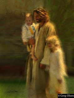 """""""In The Arms of His Love"""" - Greg Olson . . . I LOVE this one, it is one of the very few depictions of Christ smiling, actually on the verge of laughter."""