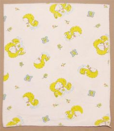 Vintage White Flannel Yellow Blue Duck Butterfly Flower Receiving Baby Blanket #Unknown